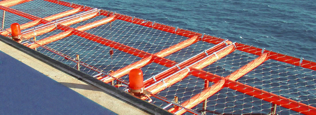Stainless steel rope mesh is installed as the helideck rope mesh.