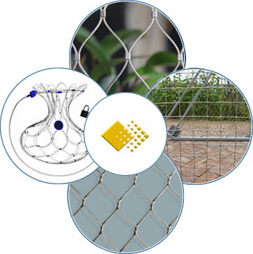 A piece of stainless steel ferrule rope mesh, a piece of knotted rope mesh, an anti-theft backpack protector and a piece of stainless steel square rope mesh.