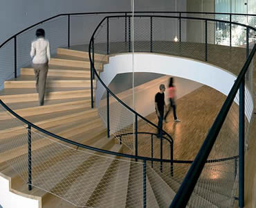 Stainless steel ferrule rope mesh is installed as the balustrade of a circle stair.