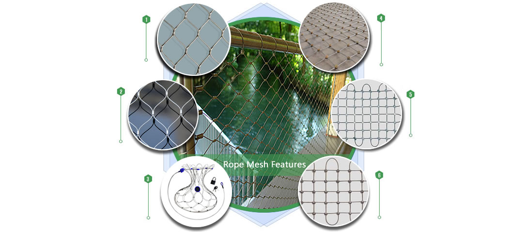 Stainless steel ferrule rope mesh is installed as the balustrade infill of a passage fence.