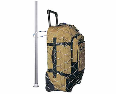 A luggage is put into a stainless steel rope mesh which is locked to a pole.