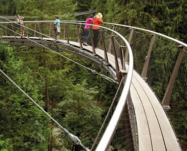 A section of Cliffwalk Capilano Suspension Bridge with several persons on it.